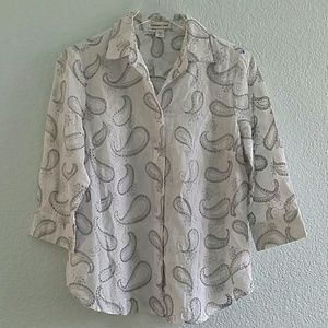 Coldwater Creek Paisley White Gray Button Blouse